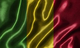 Wallpaper by Mali flag and waving flag by fabric. Mali flag - Fabric flag of Mali country, Background and wallpaper of waving flag by textile Royalty Free Stock Photography