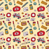 Wallpaper medical objects color seamless pattern Stock Photo
