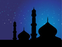 Wallpaper of mosques in over bright night sky Royalty Free Stock Image