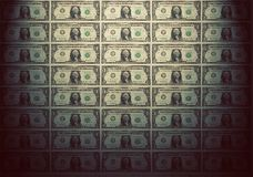 Wallpaper of one dollar banknotes. Vintage mood Stock Photography