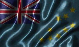Wallpaper par le drapeau du Tuvalu et le drapeau de ondulation par le tissu illustration de vecteur