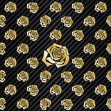 Wallpaper pattern illustration with repeating, seamless golden r Royalty Free Stock Photo