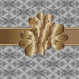 Wallpaper with pattern and metallic flower Stock Photo
