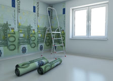 Wallpaper patterned euro as a symbol - the money f Stock Photography