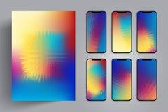 Wallpaper pour le smartphone ou le comprimé pour un fond ou une couverture avec l'explosion colorée ou une boule d'épine avec les Images stock