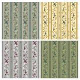 Wallpaper quater. Art nouveau floral wallpaper four different color arrangements Royalty Free Stock Photos