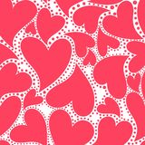 Wallpaper with red hearts Stock Photo