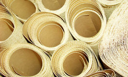 Wallpaper rolls. Accumulation of different types of wallpaper rolls stock photo
