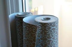 Wallpaper rolls. Two wallpaper rolls royalty free stock photos
