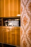 Wallpaper in a 1970s Style Living Room. Retro 1970s Style Living Room royalty free stock photos