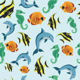 Wallpaper with sea inhabitants Stock Photography