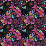 Wallpaper seamless colorful flowers pattern background Royalty Free Stock Photography