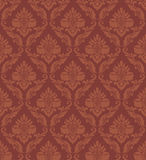 Wallpaper seamless ornament. With flowers in brown vector illustration