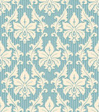 Wallpaper seamless pattern. Floral wallpaper pattern light yellow ornament and blue striped background Stock Photos