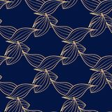 Seamless blue pattern with golden wallpaper ornaments Stock Images