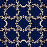 Seamless dark blue pattern with golden wallpaper ornaments Royalty Free Stock Photos