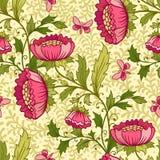 Wallpaper seamless vintage flower pattern Stock Photo