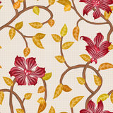 Wallpaper seamless vintage red flower pattern Stock Image