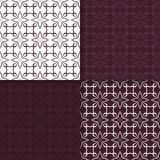 Wallpaper set of maroon seamless patterns with floral ornaments. Set of maroon floral ornaments. Seamless patterns for wallpapers and fabric. Vector illustration Royalty Free Stock Photography