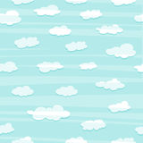 Wallpaper with a simple pattern of the clouds. White clouds in the blue sky. Wallpapers with clouds for a child's room Stock Photo