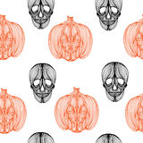 Wallpaper skull pumpkin Stock Photos