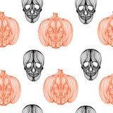 Wallpaper skull pumpkin Stock Photos
