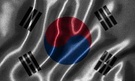 Wallpaper by South Korea flag and waving flag by fabric. South Korea flag - Fabric flag of South Korea country, Background and wallpaper of waving flag by royalty free stock photography