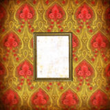 Wallpaper with stains and picture frame. Stained (painted) wallpaper with picture frame in grunge style Stock Photos