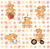 Wallpaper with stuffed bear cubs Stock Photos