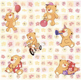 Wallpaper with stuffed bear cubs Royalty Free Stock Images