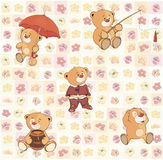 Wallpaper with stuffed bear cubs Royalty Free Stock Photo