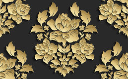 Wallpaper in the style of Baroque . Vector damask seamless floral pattern . Rose ornament . Royalty Free Stock Images