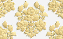 Wallpaper in the style of Baroque . Vector damask seamless floral pattern . Rose ornament . Wallpaper in the style of Baroque . Vector damask seamless floral Stock Photos