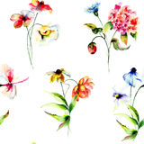 Wallpaper with stylized flowers Stock Photo