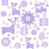 Wallpaper with stylized winter blue print Royalty Free Stock Photos