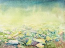 Hand drawn watercolor sea depth and beach shore pebbles