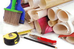 Wallpaper and tools royalty free stock image