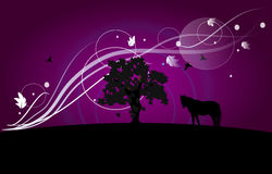 Wallpaper with tree and horse silhouette Stock Image