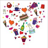 Wallpaper for Valentine`s Day with different objects Royalty Free Stock Photography