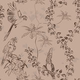 Wallpaper vintage parrot pattern Stock Photo
