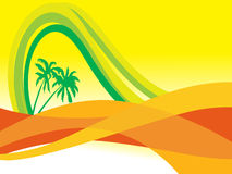 Wallpaper, waves and palm tree Stock Photo