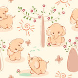 Wallpaper With Elephant. Royalty Free Stock Photos