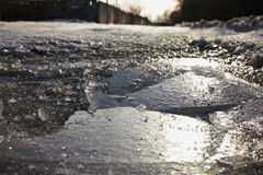 Wallpapered ice in macro on the river. Stock Photos