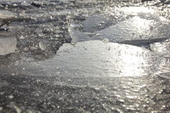 Wallpapered ice in macro on the river. Stock Images
