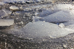 Wallpapered ice in macro on the river. Royalty Free Stock Photo