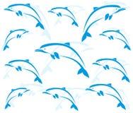 Wallpaperen avbildar av delfiner royaltyfri illustrationer