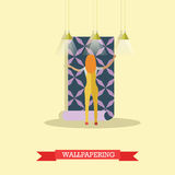 Wallpapering concept vector illustration in flat style Royalty Free Stock Photo