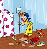 Wallpapering glamour girl cartoon illustration Stock Photo