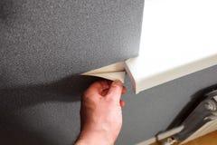 Wallpapering grigio vicino alle aperture luminose della finestra in appartamento fotografia stock libera da diritti