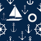 Wallpapers of anchors and steering wheels, marine themes. stock illustration